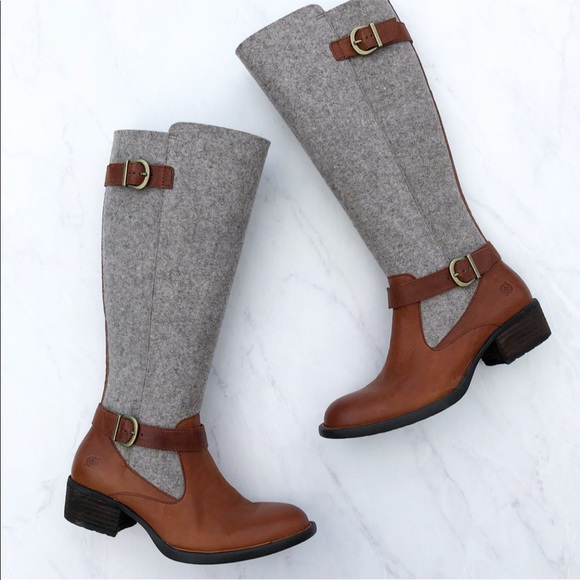 004a134532f86 Born Two Tone Leather and Wool Riding Boots NWT